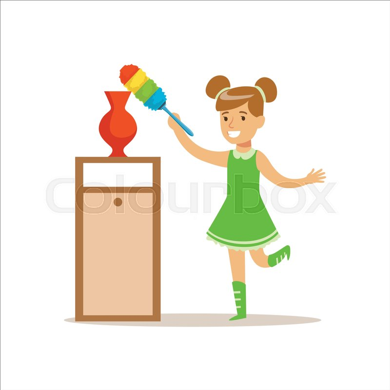 girl wiping the dust from vase with brush smiling cartoon kid character helping with. Black Bedroom Furniture Sets. Home Design Ideas