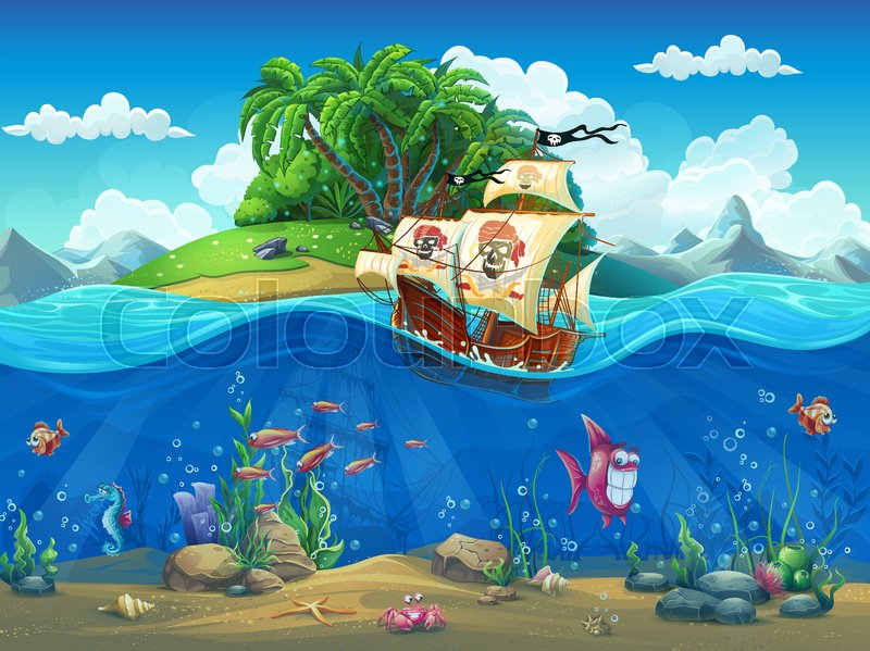 Tropical Island Cartoon: Vector Cartoon Illustration Of A ...