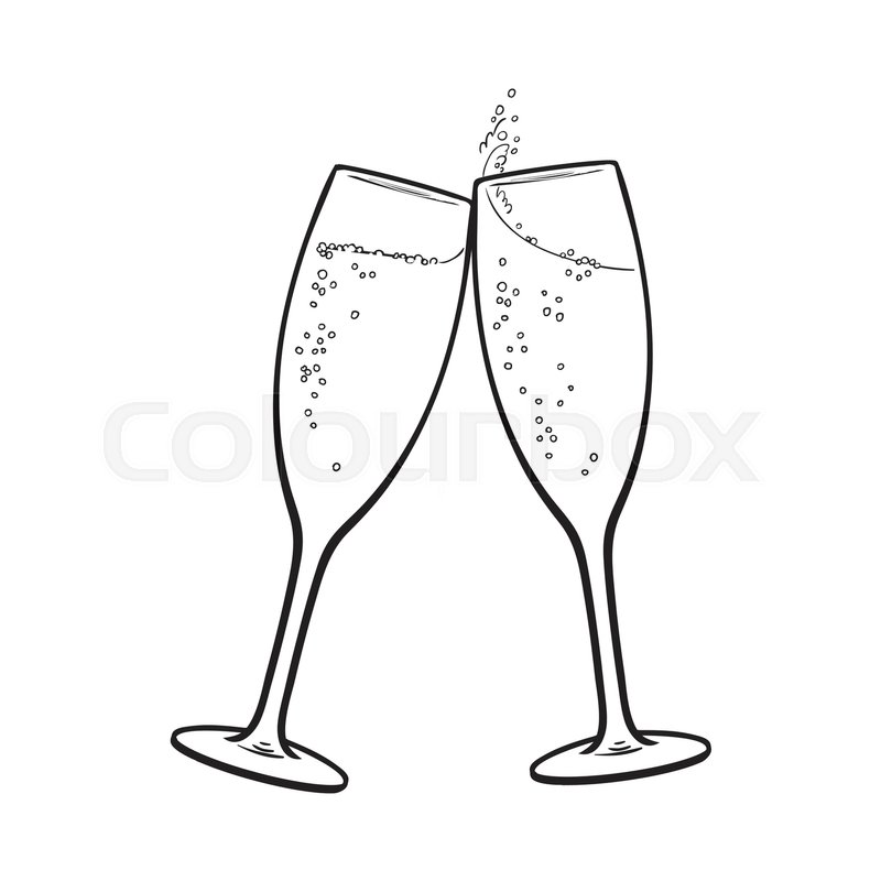 Pair of champagne glasses, set of sketch style vector ...