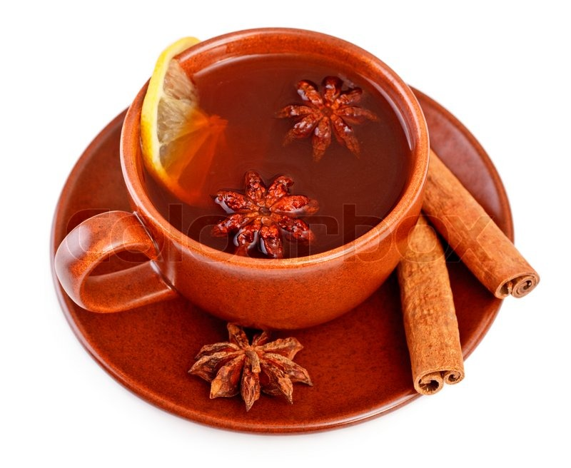 Cup Of Tea With Cinnamon Sticks And Star Anise Stock