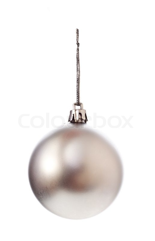 silver christmas ball isolated on white background stock photo colourbox - White Christmas Balls