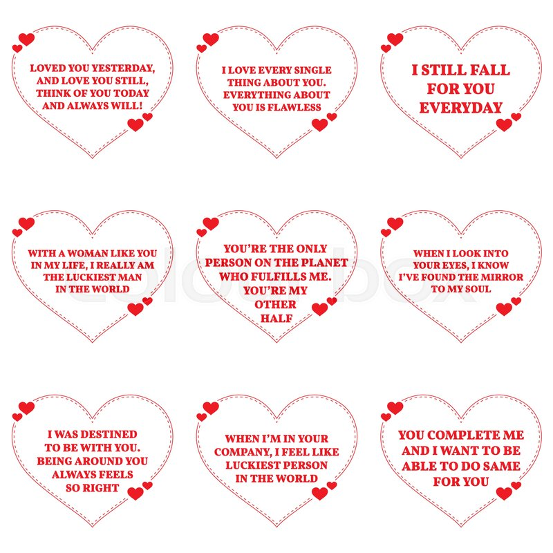 Set Of Love Wishes Quotes Over White Stock Vector Colourbox