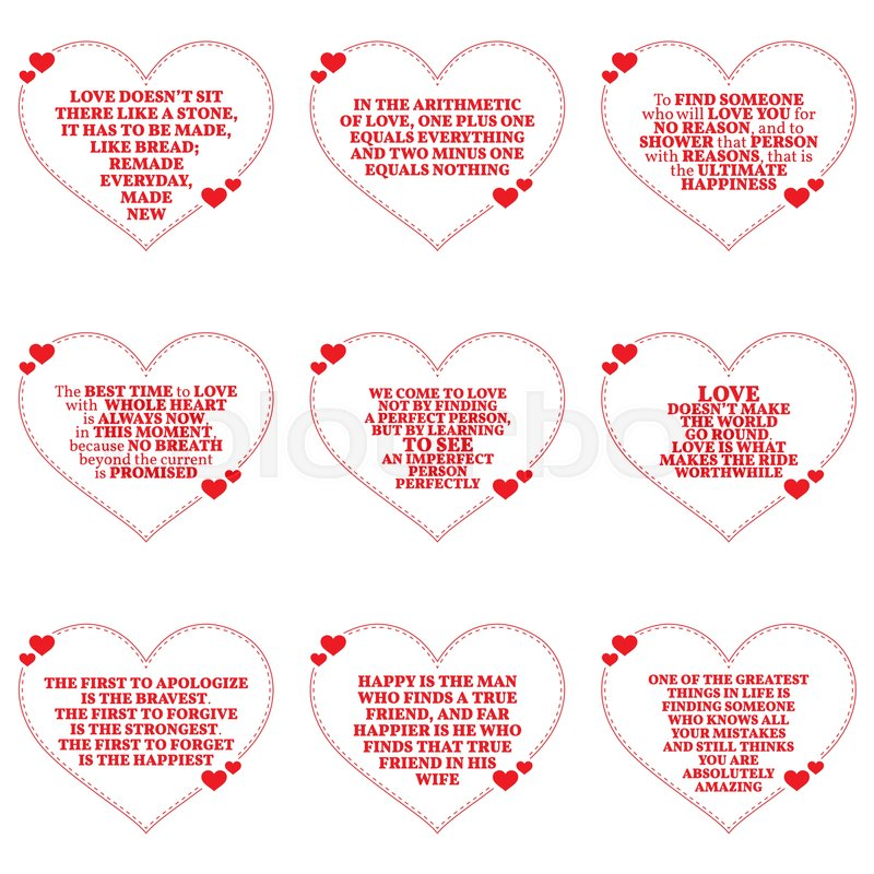 Set Of Quotes About Love Over White Background. Simple Heart Shape Design.  Vector Illustration | Stock Vector | Colourbox