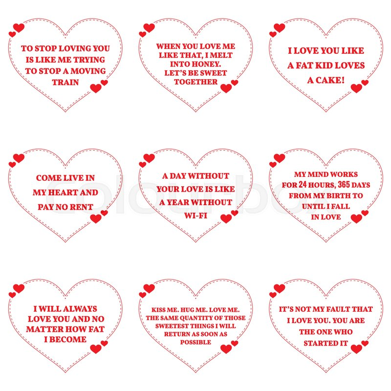 Set Of Funny Love Wishes Quotes Over White Background. Simple Heart Shape  Design. Vector Illustration | Stock Vector | Colourbox