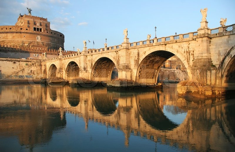 View On Famous Saint Angel Castle And Bridge Over The Tiber River In Rome Italy Image 2370199 on castle home plans medieval