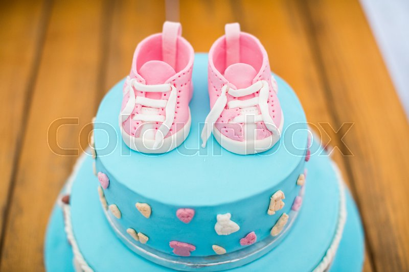 Child birthday cake Decorated for kids Blue color with pink