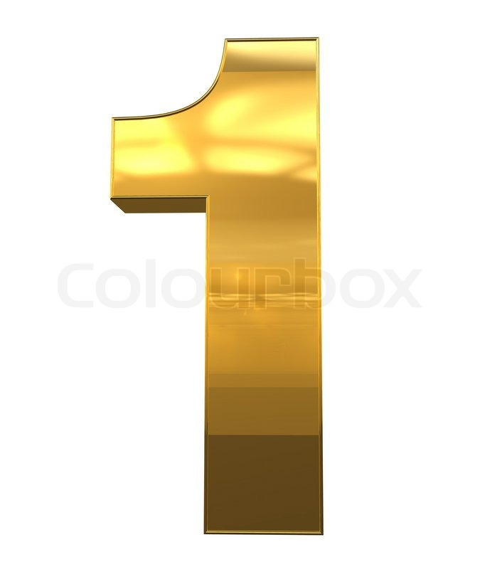 number 1 from gold with gold frame alphabet set isolated on white