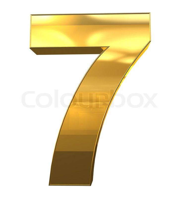 Number 7 From Gold With Frame Alphabet Set Isolated