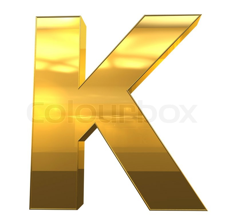 Letter K from gold with gold frame alphabet set, isolated on white ...