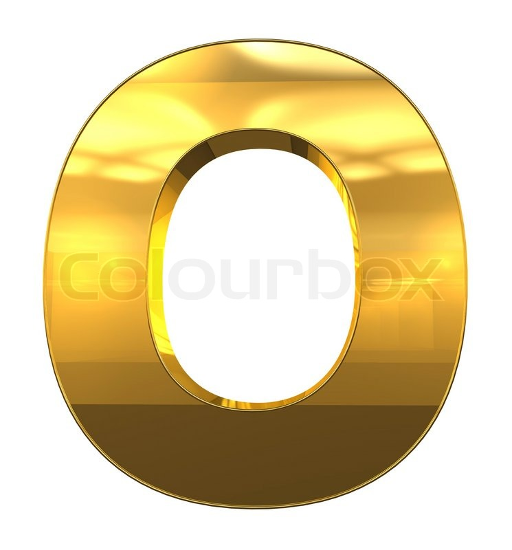 letter o from gold with gold frame alphabet set isolated on white