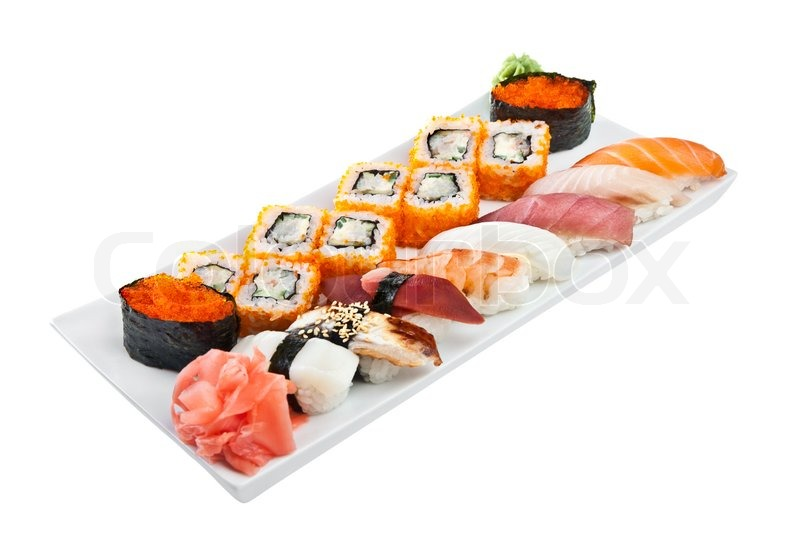 Japanese cuisine sushi roll on a white background for Asian cuisine 08052
