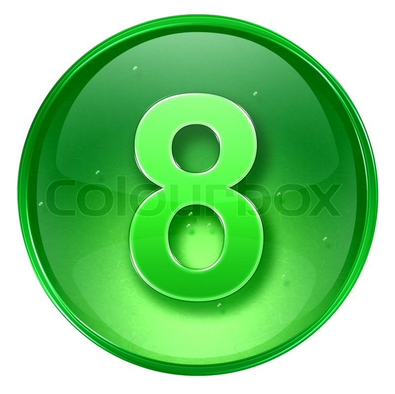 Number Plate Suppliers >> Number eight icon green, isolated on white background ...