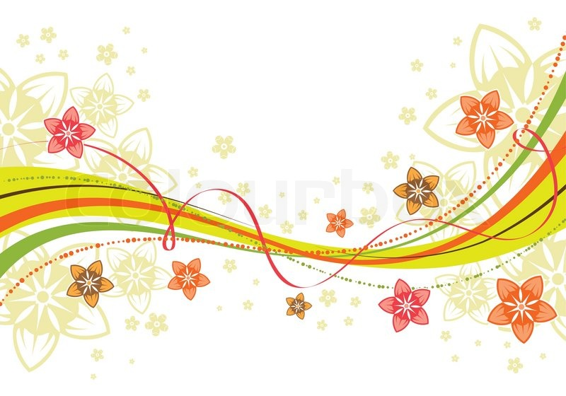 Floral Background With Wave Pattern Element For Design Vector