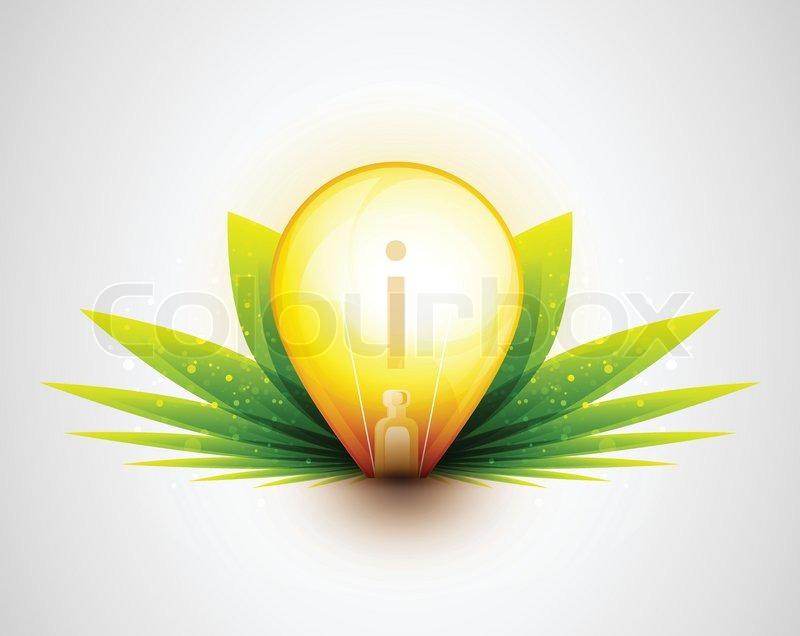 Glühbirne und grünen blättern natur konzept