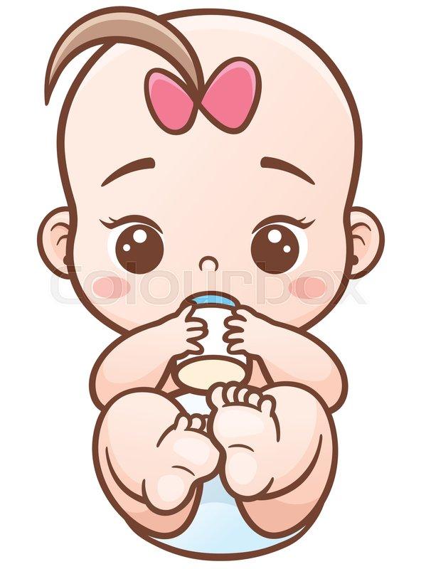 Vector Illustration Of Cartoon Baby Holding A Milk Bottle
