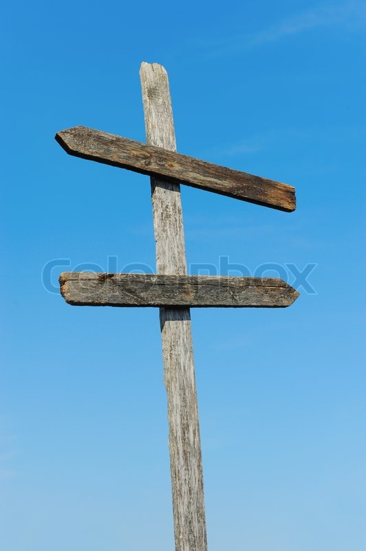Old wooden blank sign post against the sky | Stock Photo ...