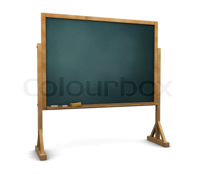 Beautiful 3d illustration of chalkboard stand over white background | Stock  FL63