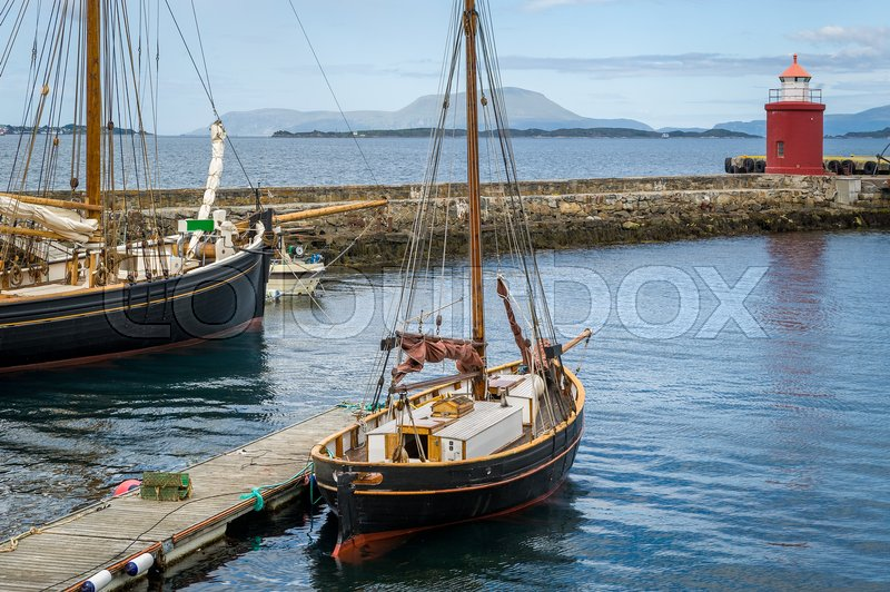 Old Wooden Sailing Yachts Docked At Stock Image Colourbox