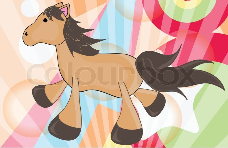 Stock vector of 'Colorful background whit cartoon horse'