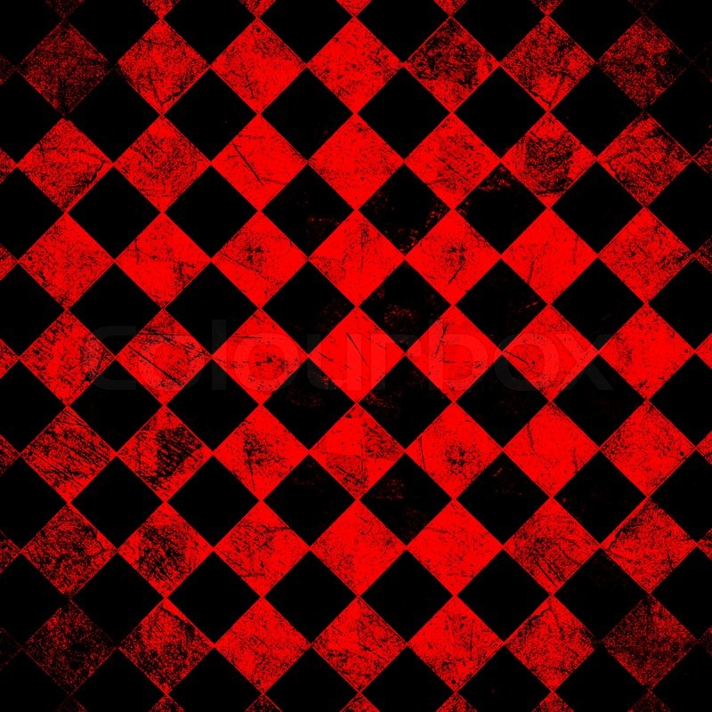 Grunge Red Checkered Abstract Background Stock Photo