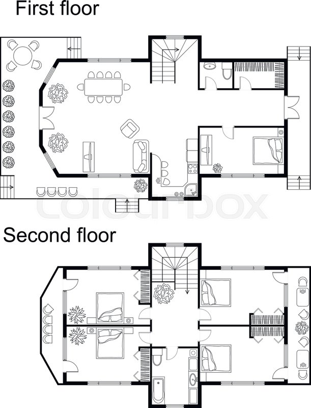 Black And White Architectural Plan Of A Double Decker House. Layout Of  Apartment With Furniture In Drawing View. With Kitchen And Bathroom, Living  Room And ...