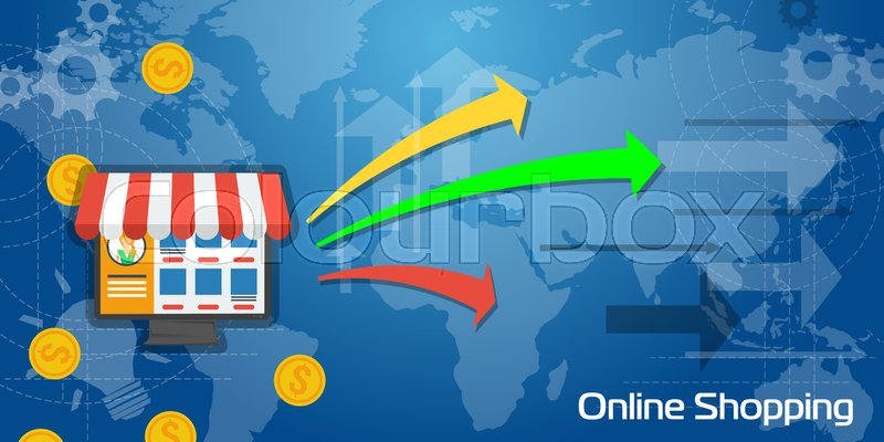 Vector business background long banner online shopping with white long banner online shopping with white and blue transparent elements arrows charts coins and world map e shop on computer monitor gumiabroncs Gallery