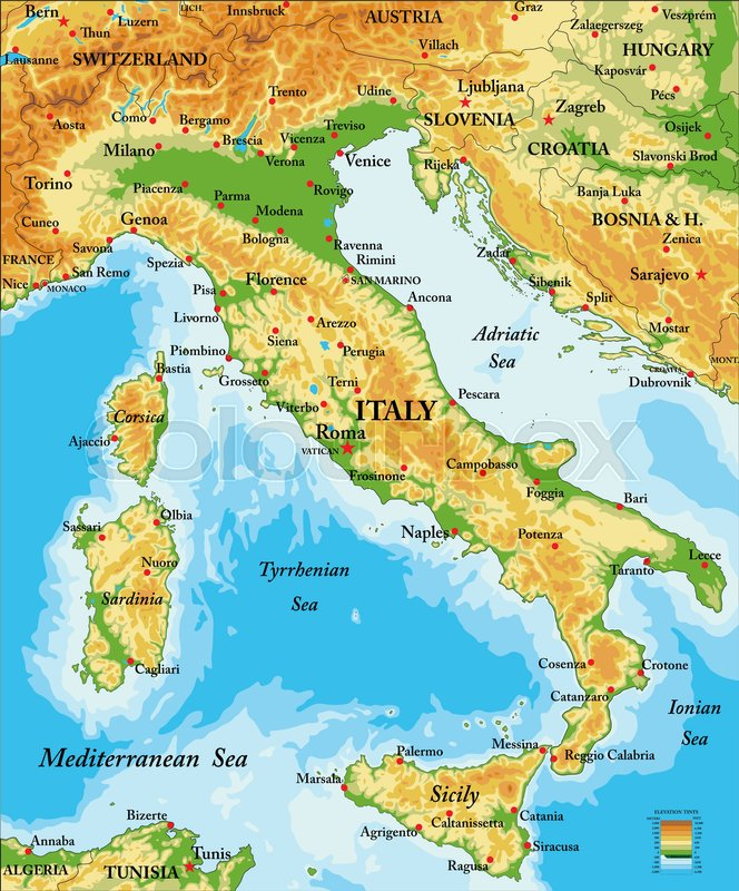 Highly Detailed Physical Map Of Italyin Vector Formatwith All - Map of italy physical