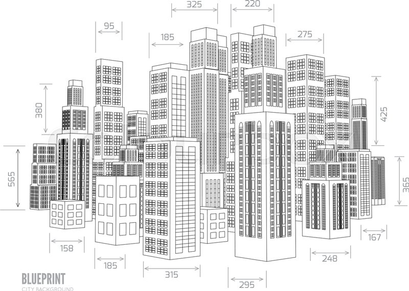 Building wireframe 3d render city vector blueprint for Blueprint builder free