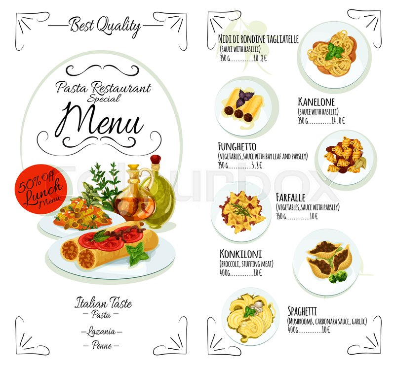 Pasta Menu Template Of Italian Cuisine Restaurant. Spaghetti With