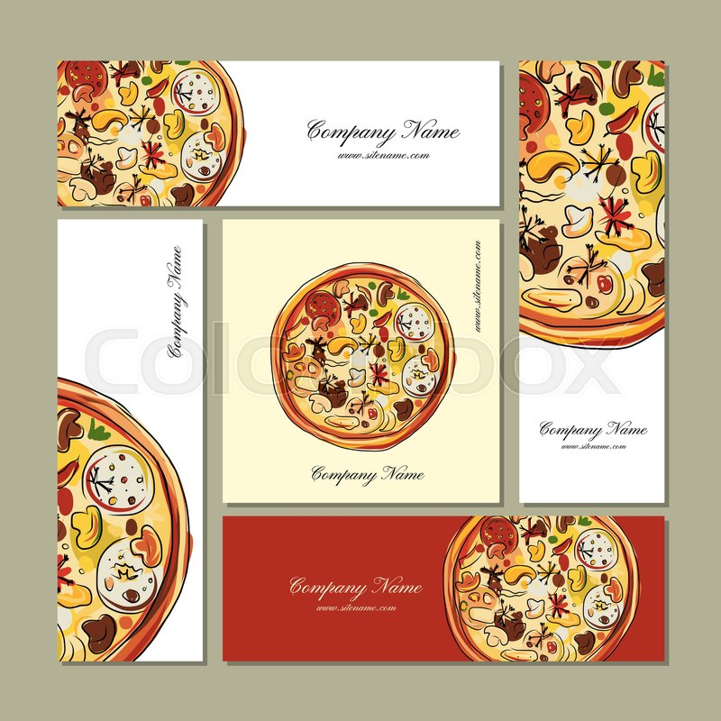 Business cards design with pizza sketch. Vector illustration | Stock ...