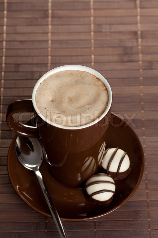 9cdf4fe6211 Black hot coffee cup on table | Stock image | Colourbox