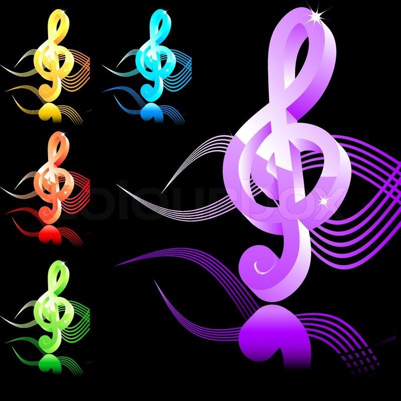 Mucic symbol treble clef in 5 colors | Stock vector | Colourbox