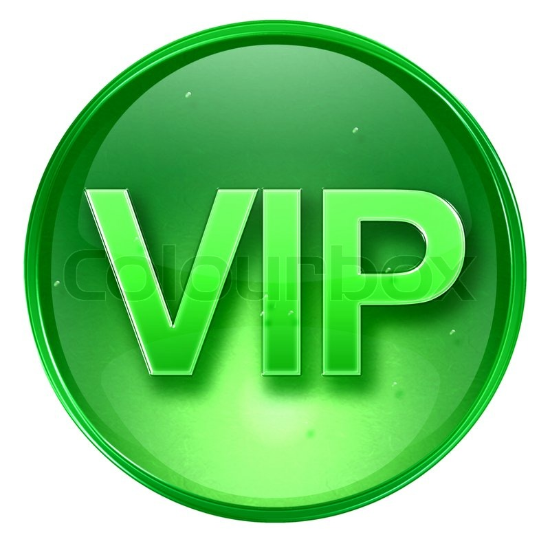 VIP Icon Green, Isolated On White Background