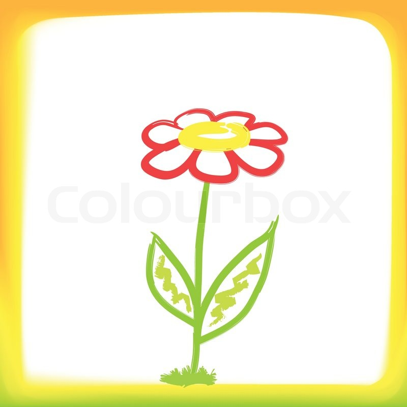 Childrens Drawing A Flower In A Bright Color Frame Stock Vector