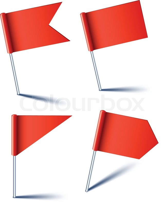 Vector Illustration Of Red Pin Flags Stock Vector Colourbox - Flag pins for maps