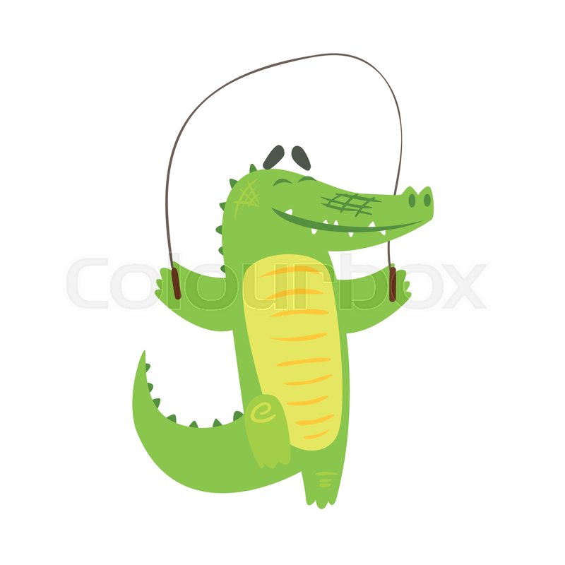 Crocodile Jumping Skipping Rope, Humanized Green Reptile Animal Character Every Day Activity, Part Of Flat Bright Color Isolated Funny Alligator In Different Situation Series Of Illustrations, vector