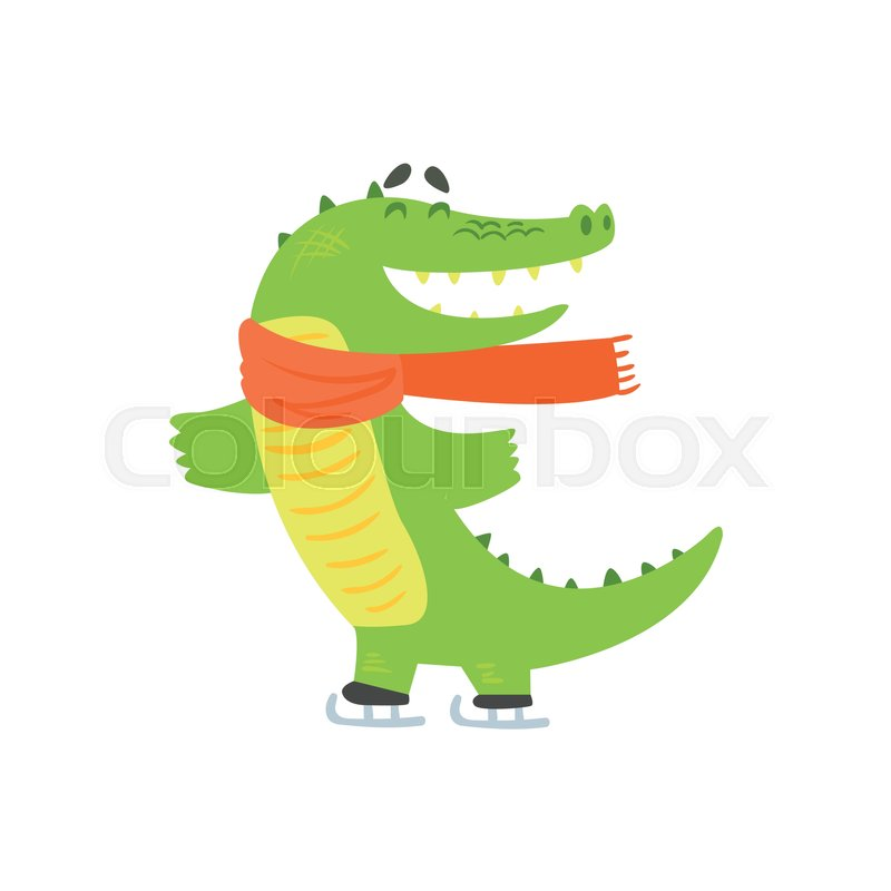 Crocodile Ice Skating, Humanized Green Reptile Animal Character Every Day Activity, Part Of Flat Bright Color Isolated Funny Alligator In Different Situation Series Of Illustrations, vector