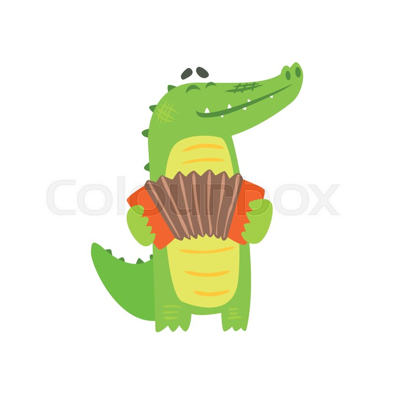 Crocodile Playing Accordion, Humanized Green Reptile Animal Character Every Day Activity, Part Of Flat Bright Color Isolated Funny Alligator In Different Situation Series Of Illustrations, vector