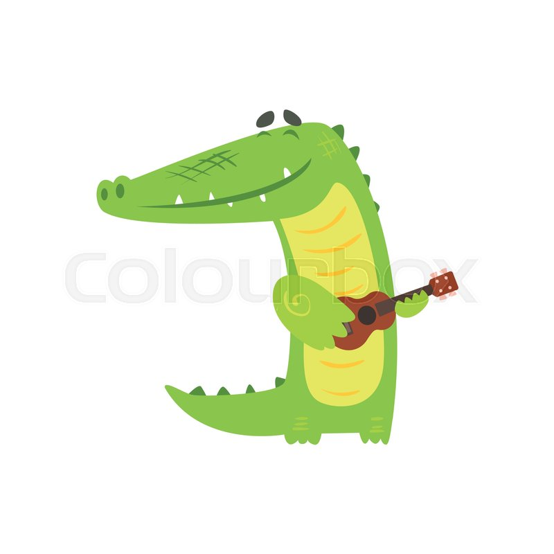 Crocodile Playing Guitar, Humanized Green Reptile Animal Character Every Day Activity, Part Of Flat Bright Color Isolated Funny Alligator In Different Situation Series Of Illustrations, vector