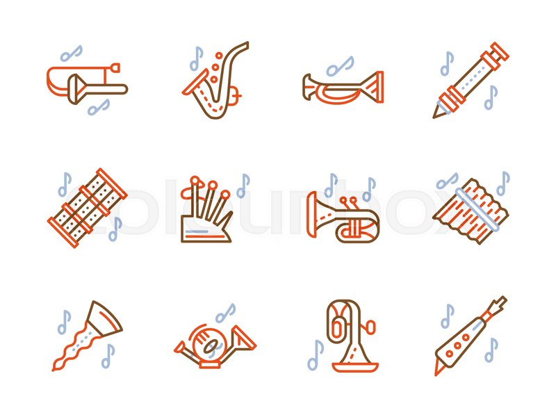 Musical Brass Wind Instruments For Orchestra Jazz Band And Music