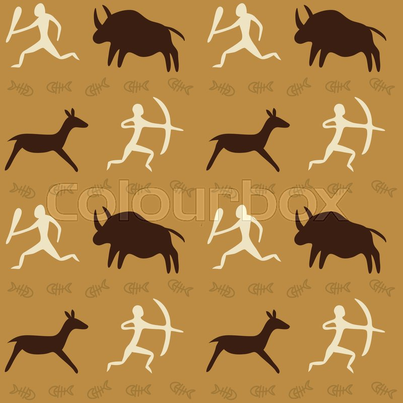 vector seamless pattern with cave   stock vector