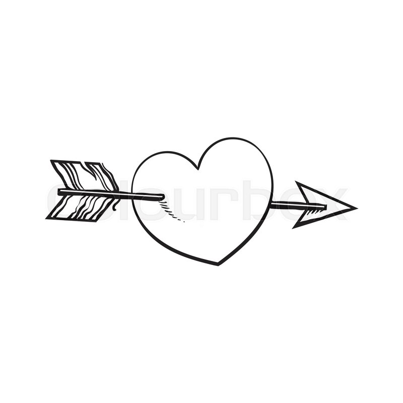 Shiny Cartoon Heart Pieced By Cupid Arrow Sketch Style Illustration