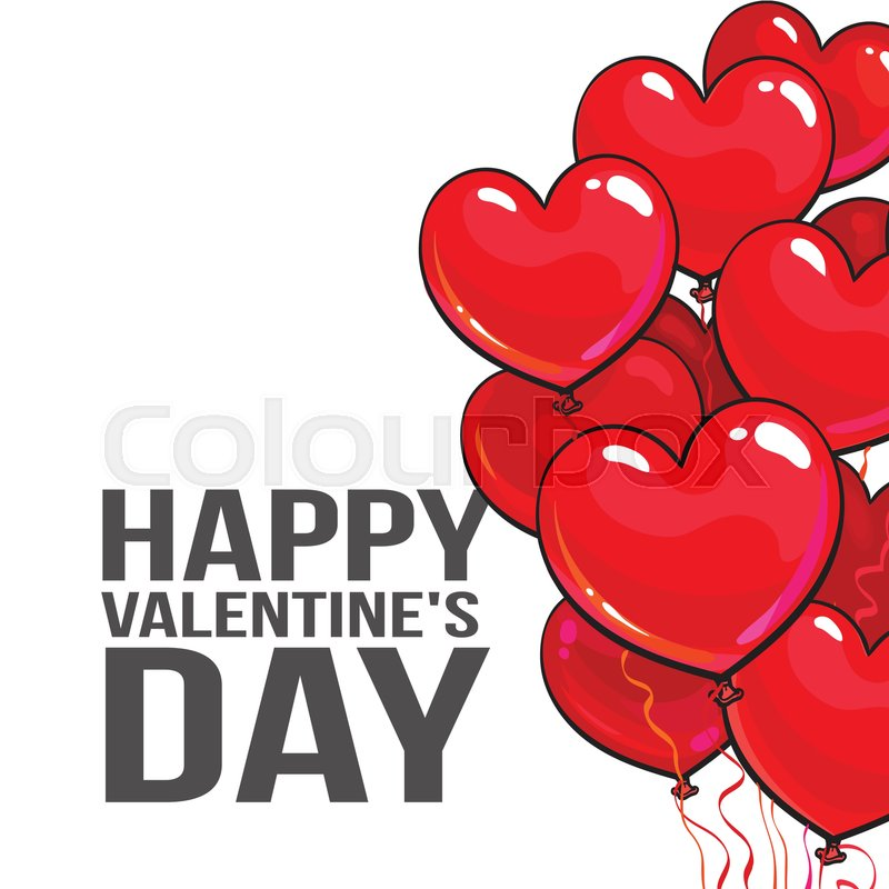 Valentine day greeting card with a bunch of glossy heart shaped valentine day greeting card with a bunch of glossy heart shaped balloons on white background cartoon vector illustration bunch of pink and red heart m4hsunfo