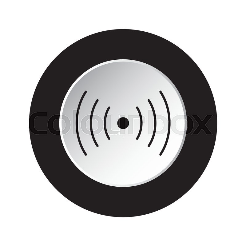 Isolated round black and white button with black sound or vibration ...