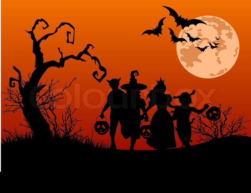 halloween background with silhouettes of children trick or treating