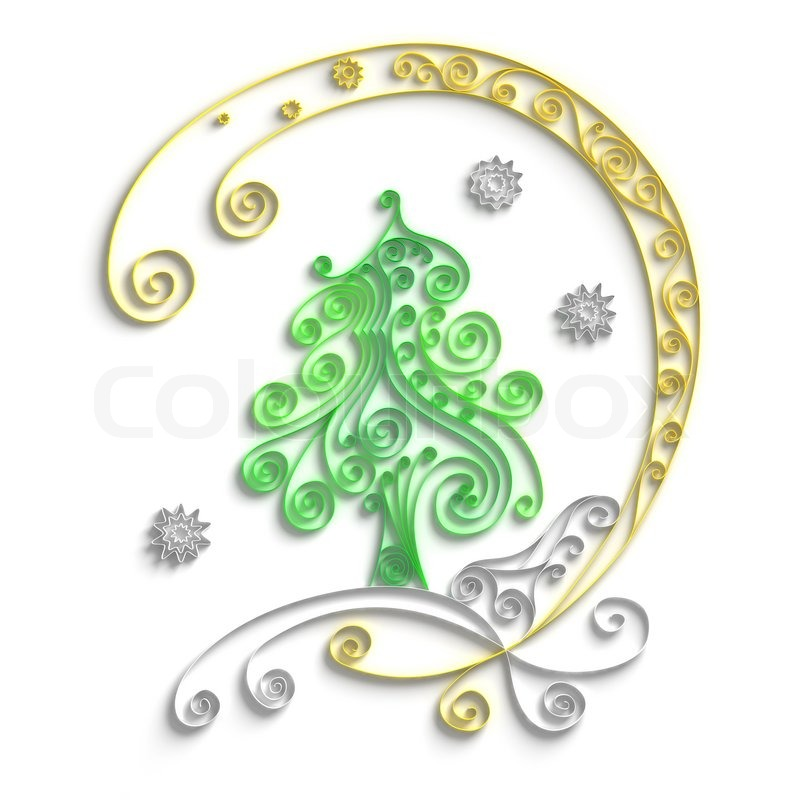 Quilling Line Art : Ornamental design of christmas tree on white background