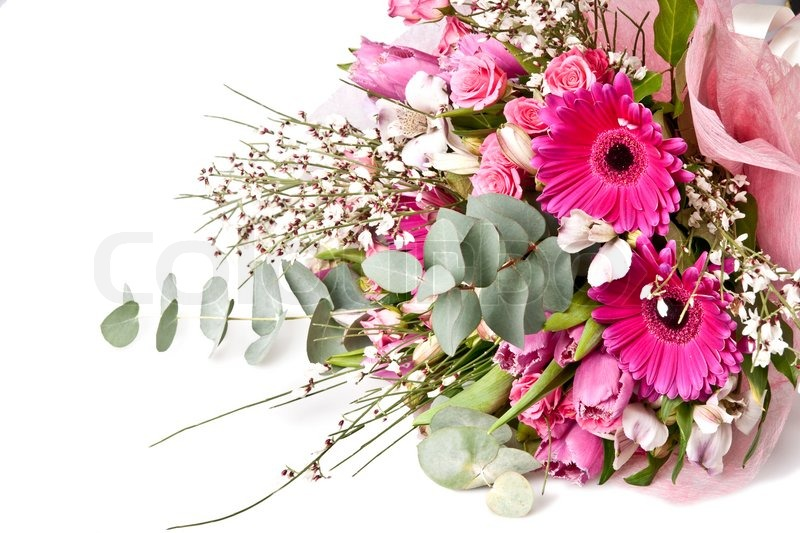 Beautiful Bouquet Of Flowers Isolated On White Stock