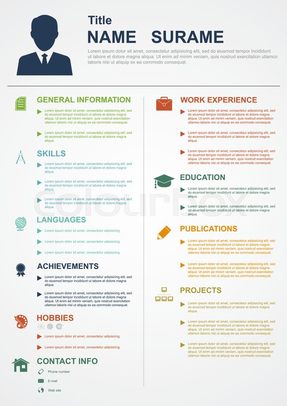 infographic template with icons for cv  personal profile  resume organisation