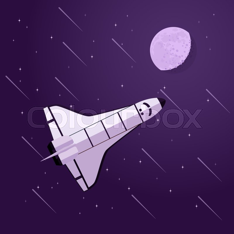 Picture of space shuttle in front of moon and stars, vector