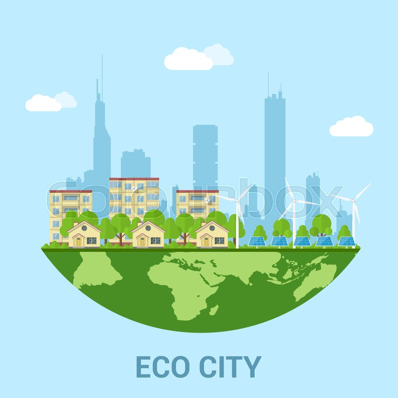 Green eco city with privat houses panel houses wind turbines and